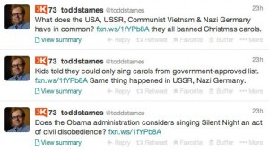 Starnes implies that the US is going Nazi/Socialist because of banned (not really banned) carols.