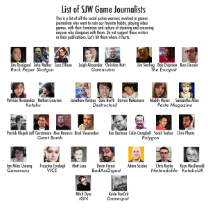 "A helpful list of ""Social Justice Warriors"" brought to you by Gamergate."