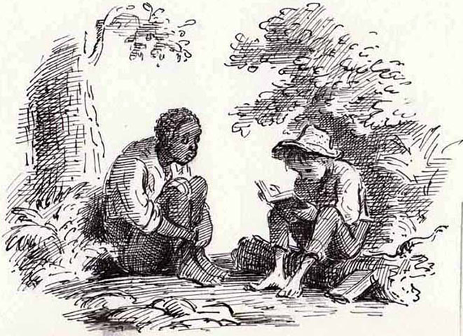 huck finn- relationship between huck and jim essay Mark twain's adventures of huckleberry finn is, according to many critics and  fond  as huck and jim float down the mississippi and encounter all manner of  people and  mary reichardt situates the reader with the introductory essay.