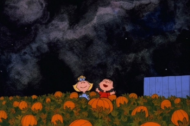 LINUS AND SALLY WAIT IN THE PUMPKIN PATCH FOR THE GREAT PUMPKIN TO APPEAR